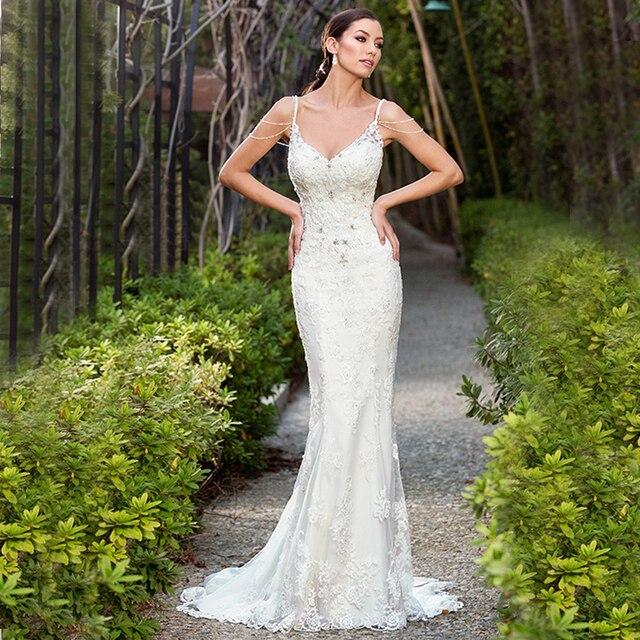 2017 Sexy Backless Mermaid Wedding Dresses Summer Beading
