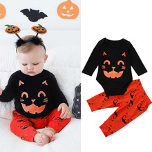 Cute 2PCS Halloween Clothes Baby Boys Girls Long Sleeve Cat Print Romper + Cartoon Print Long Pants Halloween Outfit Set 6-24M boys letter print romper with camo print pants