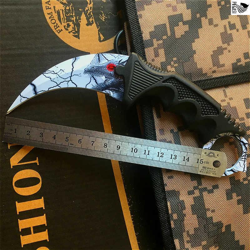 Нож в форме головы дракона, фиксированные ножи CS GO, Охотничий Тактический нож для выживания, походный карманный нож для спасения, инструменты для повседневного использования
