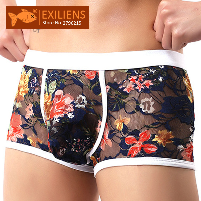 EXILIENS Lace Boxer Men Underwear Sexy Boxershorts-Size Calzoncillo New Male Masculina