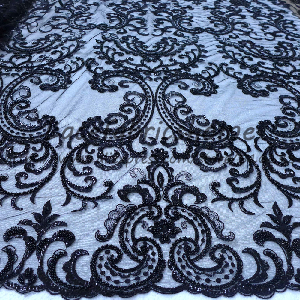 New fashion style black off white super heavy beaded on netting embroidery for wedding dress lace