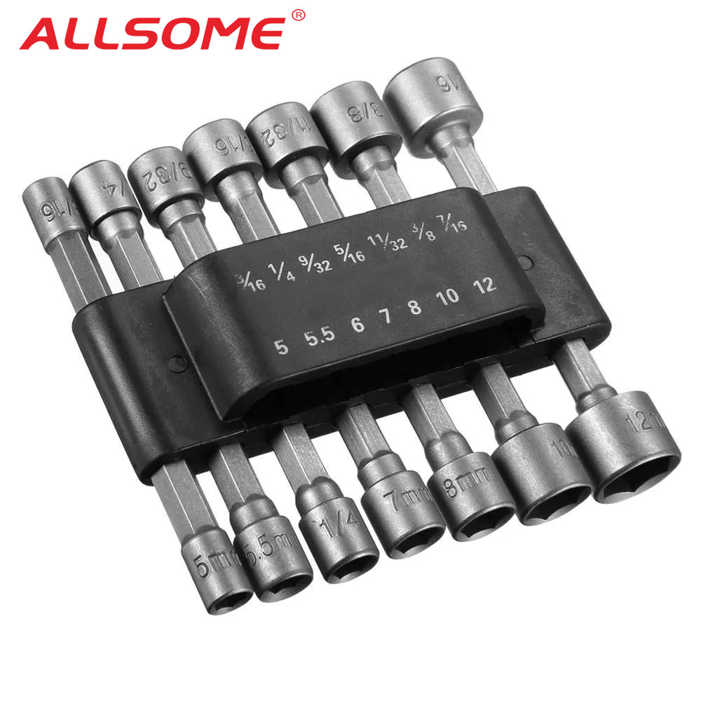 ALLSOME 14pcs 1/4 Inch Hex Shank Power Nut Driver Drill Bit Set SAE Metric Socket Wrench Screw Screwdriver HT2650+
