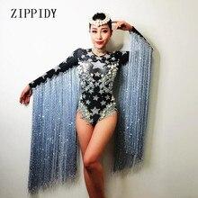купить Gray Tassel Crystals Stars Bodysuit Women Stage Dance fringes Leotard Nightclub Party Female Singer Costume Celebrate Outfit дешево