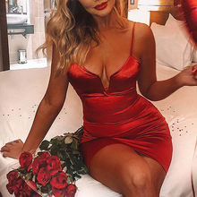 Bustier Kleider Sexy Frauen Tiefe V Neck Satin Booty Kleid Fitness hohe taille Party Nacht Club Mini Outfits 2019 Vestidos(China)