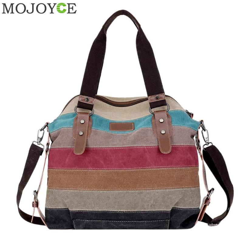 Canvas Striped Women Handbag Casual Patchwork Women Shoulder Bags Brand Designer Women Large Handbags Female Messenger Bag 2018