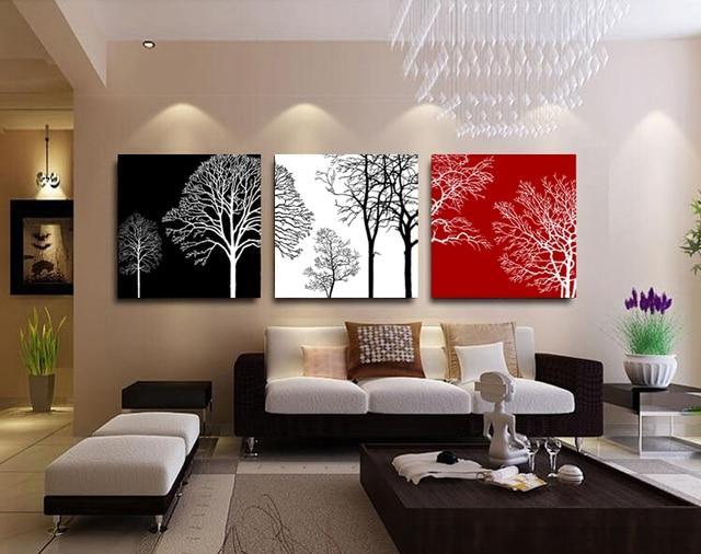 3 pannelli nero bianco rosso alberi pittura per soggiorno wall art
