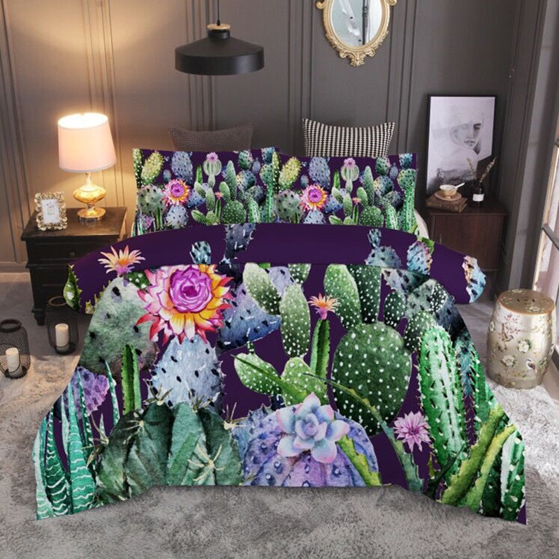 Blue Cactus Flower Plants 3D bedding set Duvet Covers Pillowcases twin full quenn king comforter bedding sets bed linen in Bedding Sets from Home Garden