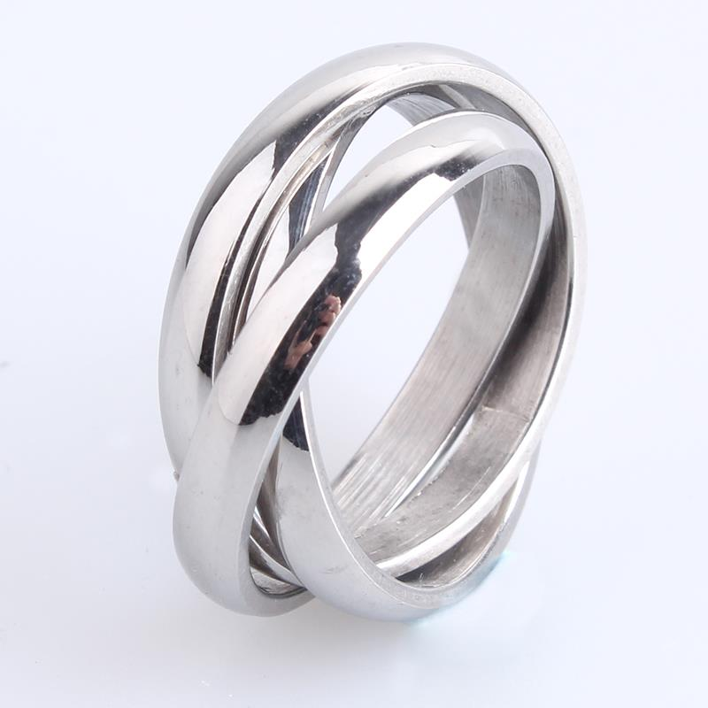 3mm Three circle silver 316L Stainless Steel finger rings for men women wholesale jewelry ...