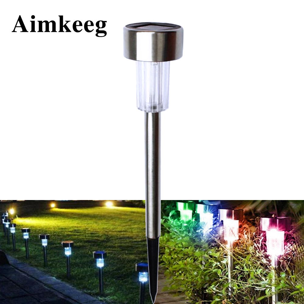 Aimkeeg 1PCS Waterproof Solar Garden Light Stainless Steel Solar Lawn Light LED Outdoor Lighting