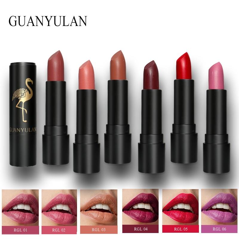 GUANYULAN 6Pcs/set Matte Lipstick Easy To Wear Long-lasting Nude Lips Stick Gloss Full Professional Makeup Set