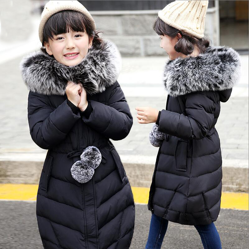 ФОТО Good quality 2016 Winter Baby Girls Down Coats Long Style Outdoor Windproof Children Jackets Kids Students Warm Parkas Outerwear