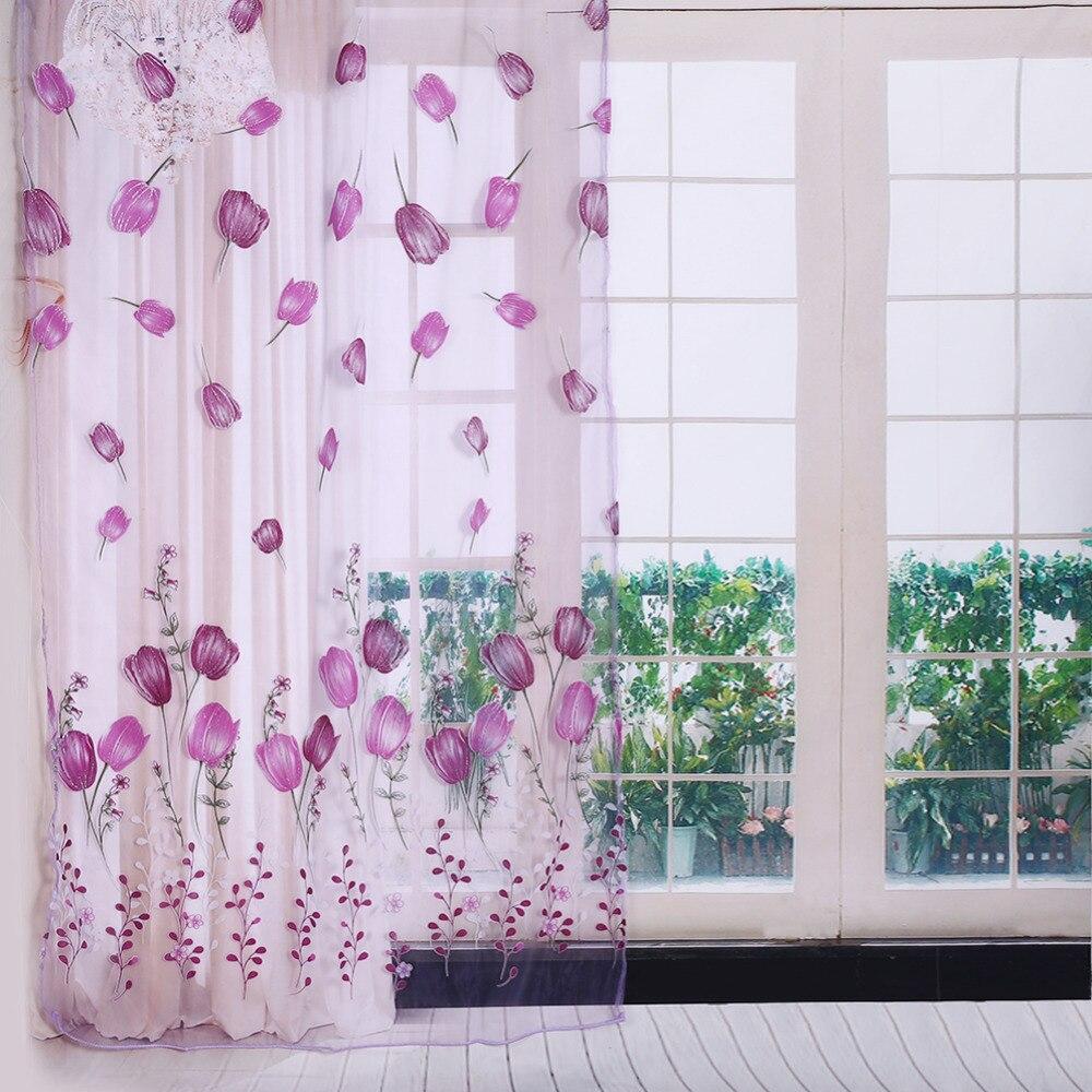 Modestil Bunte Tulpen Druck Romantische Tüll Fenster Vorhänge Sheer Drapieren Balkon Fenster Dekoration 100x200 Cm Harmonische Farben Haus & Garten Vorhänge