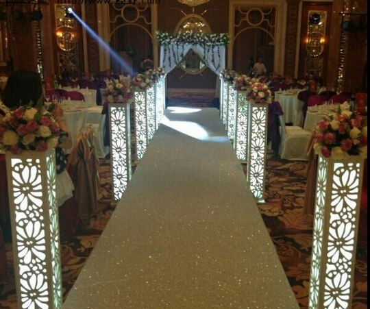 Hot Fantasy Wedding Carved Pillar Banquet Road Lead Stand Decoration With Led Light Built