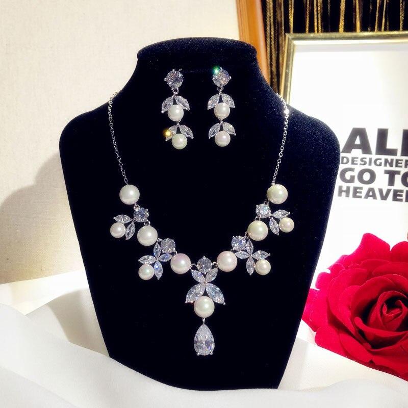 CC bijoux de mariage collier boucles d'oreilles ensembles exquis design top cristal perle fête accessoires de fiançailles pour les femmes D032