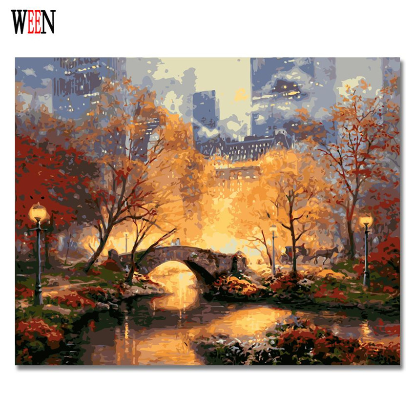 WEEN City Park Pictures Painting By numbers DIY Hand Painted Digital Bridge Wall Canvas Art Acrylic Coloring By Numbers 2017