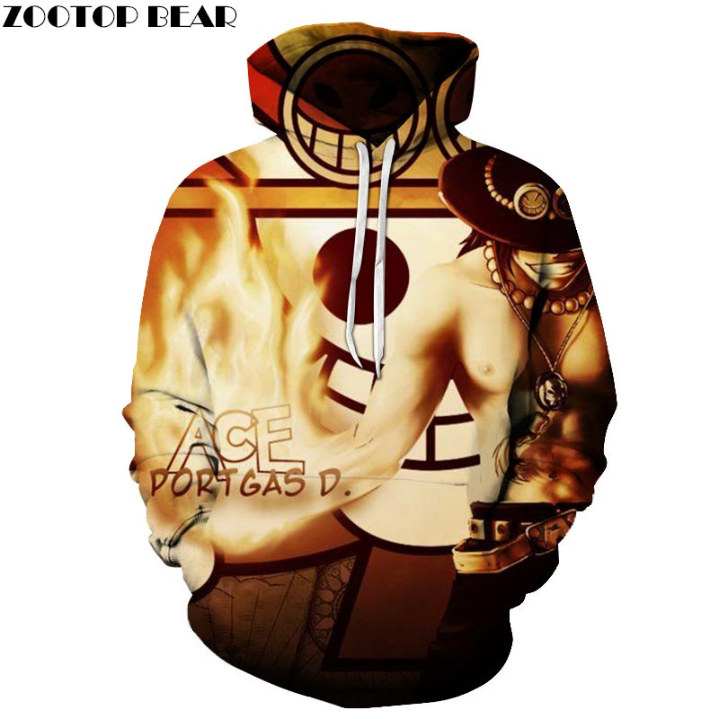 ACE Portgas 3D Printed Hoodies Men Women Sweatshirts Hooded Tracksuits Pullover 6XL Streetwear Spring Coat ZOOTOP BEAR Drop Ship