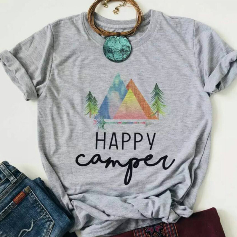 New Happy Camper Women T shirt Hot Fashion Summer Female Tee Top Letter Womens Tshirts Festivals Classics Comfort Tops in T Shirts from Women 39 s Clothing