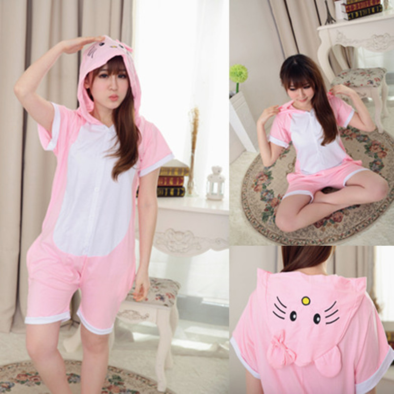 Wholesale Summer Animal Onesies Cartoon Unisex Adult Pink KT Cat Onesie Cosplay Costume Cotton Sleepwear Pajamas Sets