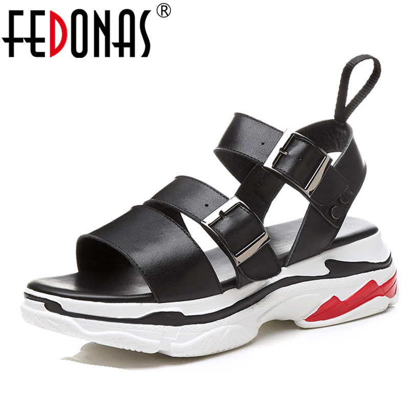 FEDONAS Women Sandals 2018 Ladies Summer Genuine Leather Shoes Woman Wedges Heels Sandals Fashion Platforms Summer Shoes New стоимость