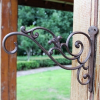 4PCS Decorative Wall Hook Wrought Iron Bracket Garden Decorations Used for Hanging Plants Lantern Birdcage Flower Hangers Holder