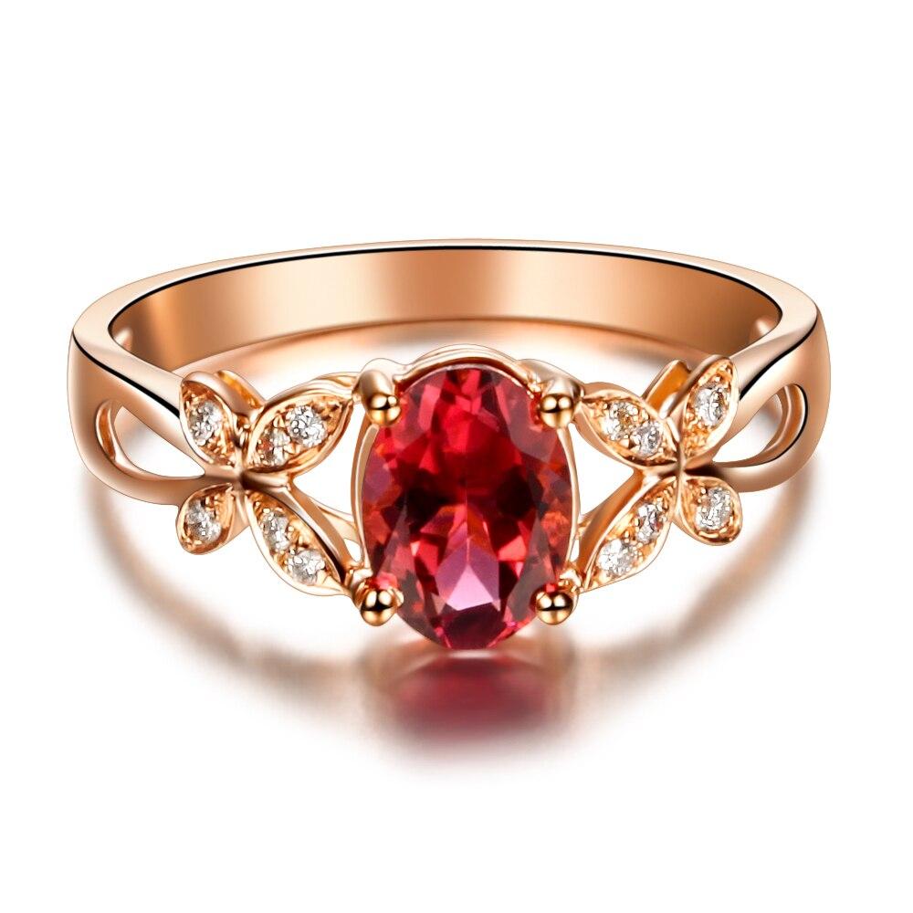 Butterfly Ring Vvs Red Tourmaline Ring Gemstone Engagement Ring Women 18k  Rose Gold Natural Diamond Free