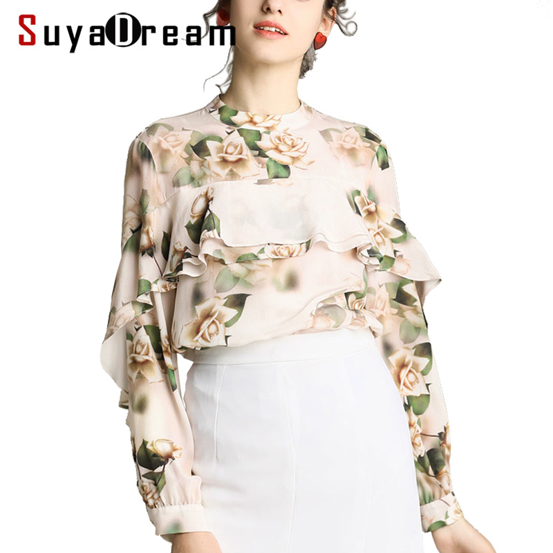 Women Silk Blouse 100% REAL SILK CREPE Ruffles Blouses Floral Printed Long Sleeved Blouse Shirt 2019 Spring Fashion Shirt