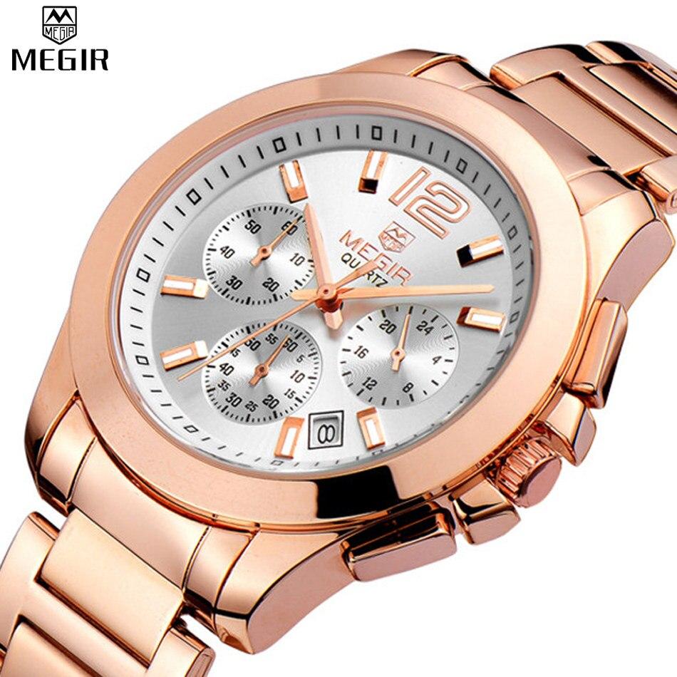 MEGIR Для женщин кварцевый хронограф часы розового золота Сталь браслет часы водонепроницаемые модная женская одежда часы relogios feminino