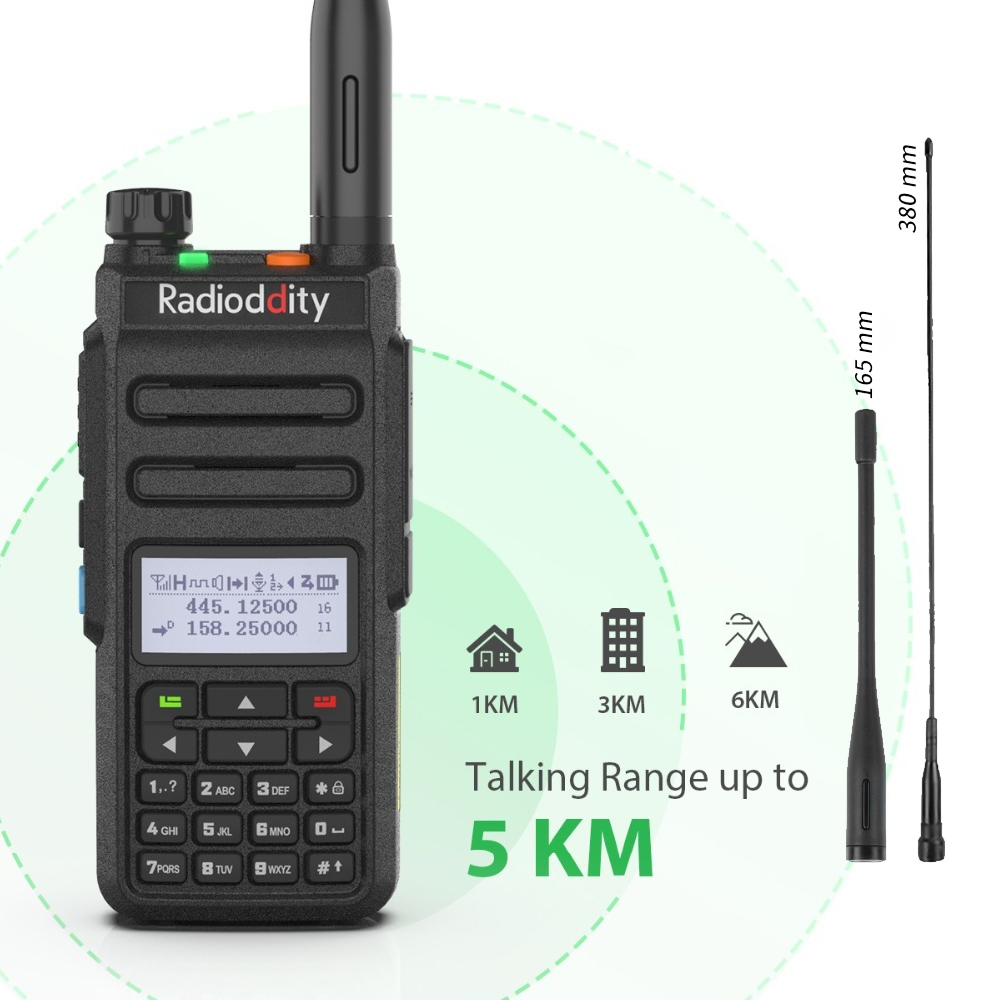 Radioddity Ham Walkie-Talkie Dual-Band Dmr Digital Two-Way-Radio Slot Analog GD-77 Channels