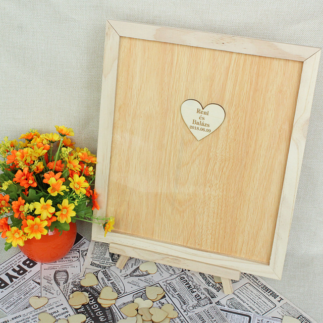 Wedding Guest Book Personalized Wooden Hearts Guest Book ...