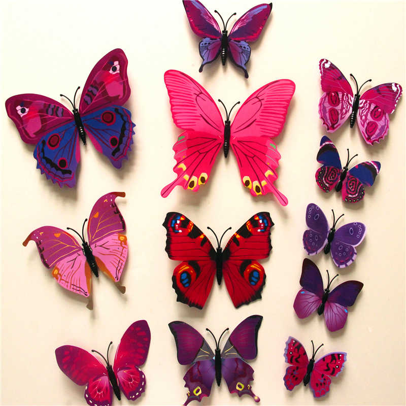 Online Buy Wholesale Wall Decals D Animal From China Wall Decals - Butterfly wall decals 3dpvc d diy butterfly wall stickers home decor poster for kitchen