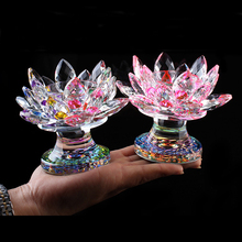 Crystal Lotus Candle Holder Home Decoration Glass Paperweight Fengshui Ornaments Figurines Home gardening  Party Decor Gifts цены