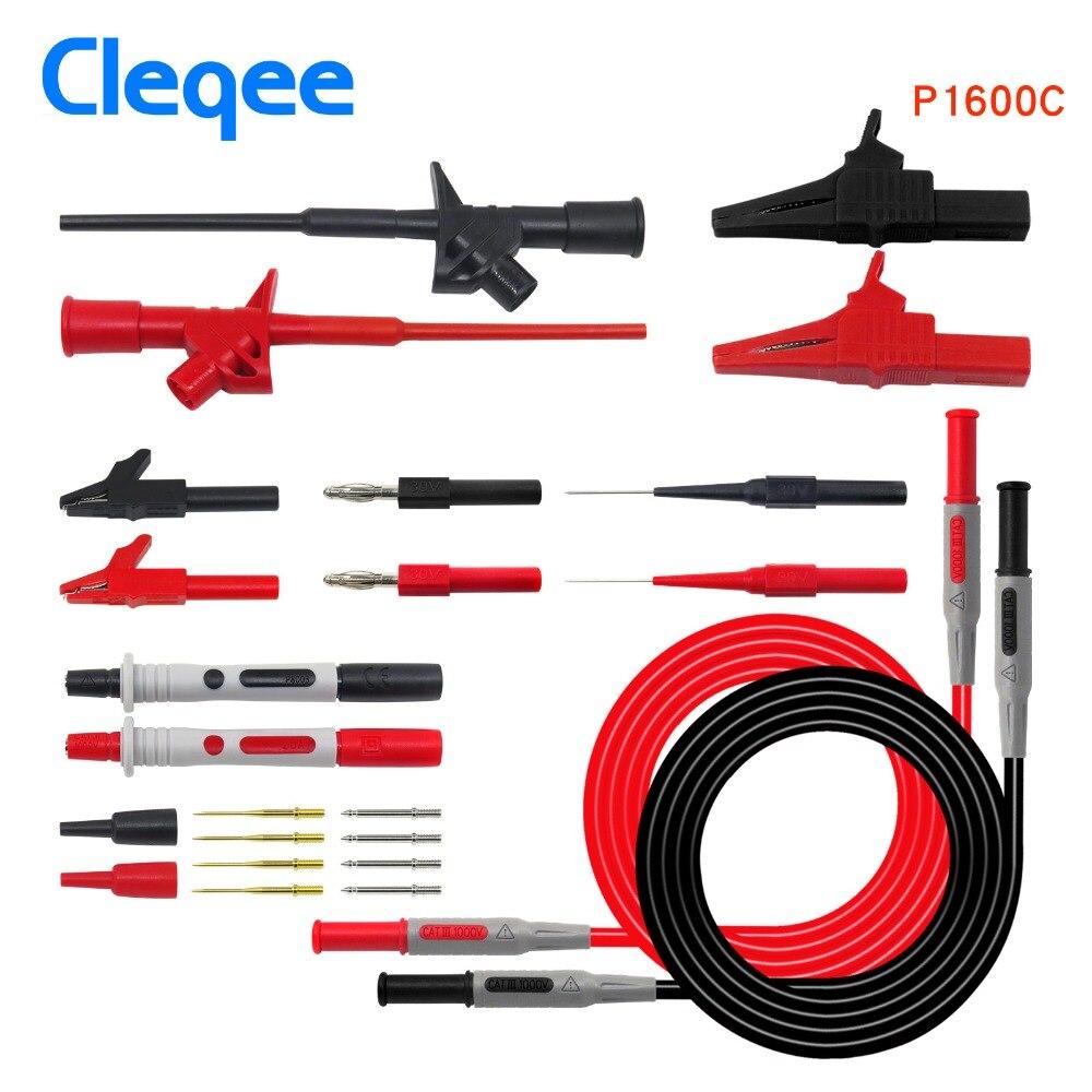 Cleqee P1600C/D/E/F 18 en 1 enchufable sonda de prueba kit de sonda IC gancho de prueba Fluke BNC-cable de prueba