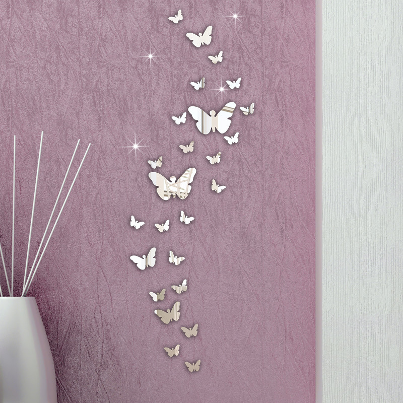 New 30PCS Butterfly Combination 3D Mirror Wall Stickers Home Decoration DIY wall decal sticking butterfly on sale