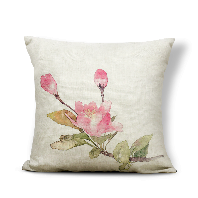 Plant Cushion Peach Rose Pillows Cute Recliner Homeware Hydrangea Throw Cushion Covers Tulip 45X45Cm Polyester / Cotton Gorgeous