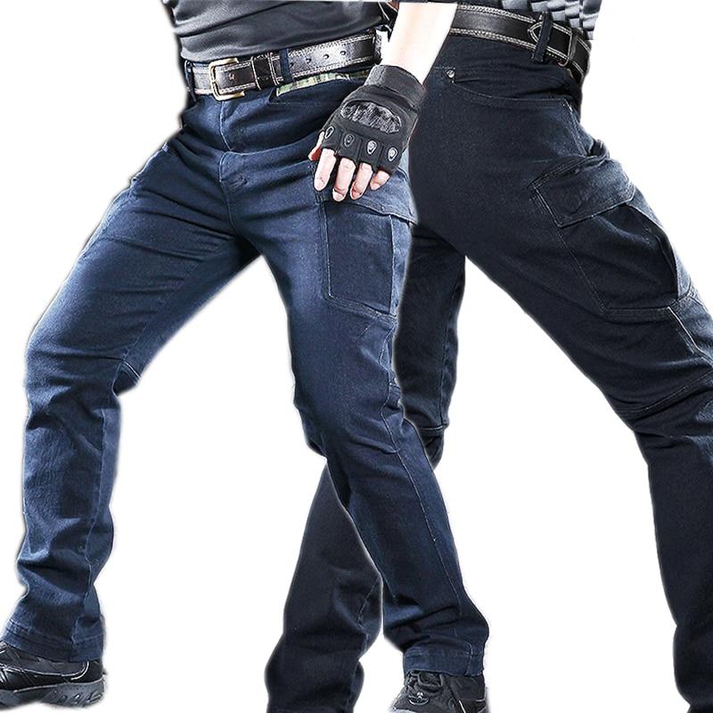 Jeans Men Tactical Jeans Denim Pants Stretchy Trousers Comfortable Full Length Multi Pockets Commuter Wear Resistant Work Pants
