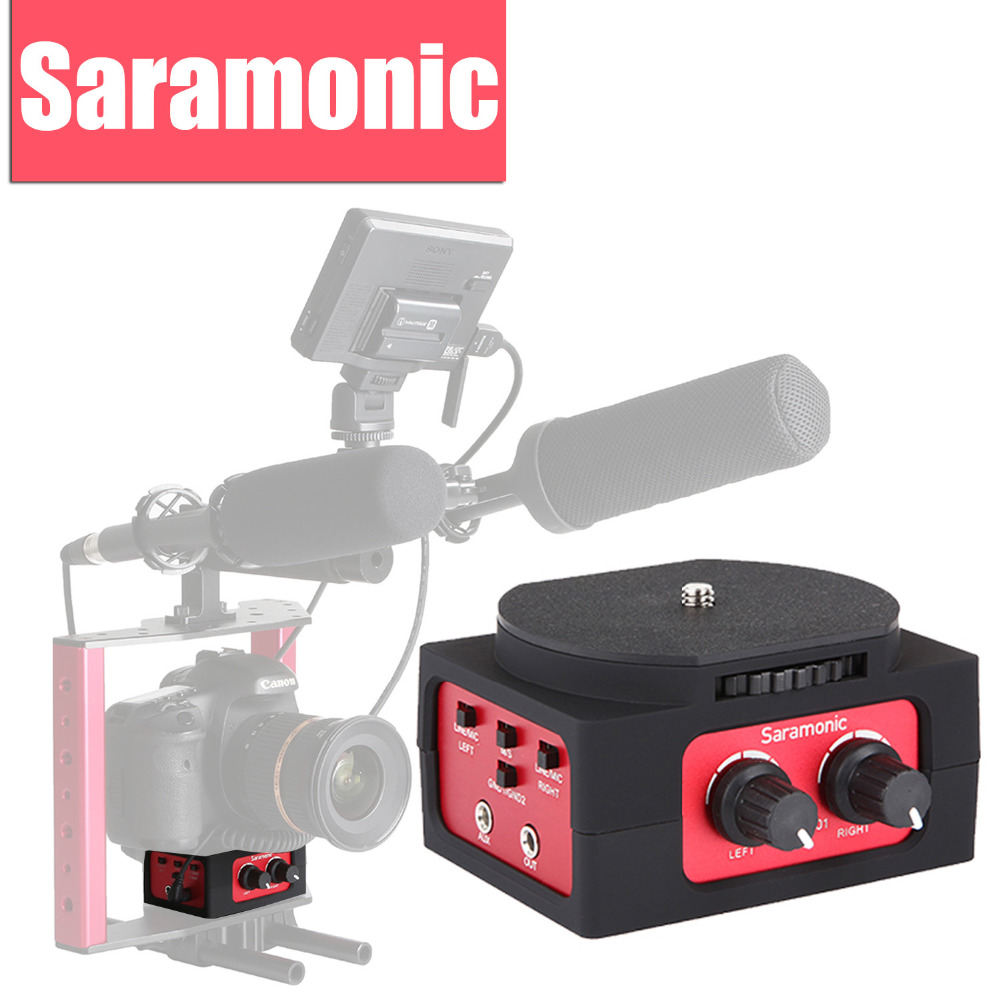 Saramonic SR-AX101 2-Channel Audio Mixer Microphone Adapter with XLR & 3.5mm Interface for Canon Nikon Panasonic DSLR Camcorder saramonic 2 channel audio mixer preamp microphone adapter dual xlr 6 3mm 3 5mm inputs for iphone 7 smartphone guitar dslr camera