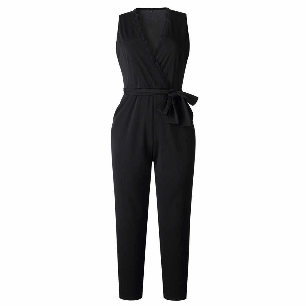 Комбинезоны для Для женщин офисные ежедневно высокое уличный комбинезон карман элегантное кружевное без рукавов с v-образным вырезом комбинезон женский # ss