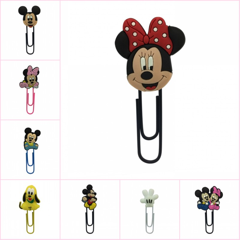 18pcs/lot Cartoon Paper Clips Mickey Minnie PVC Charm Metal Bookmarks Paper Holder Kid Stationery Book Mark School Office Supply