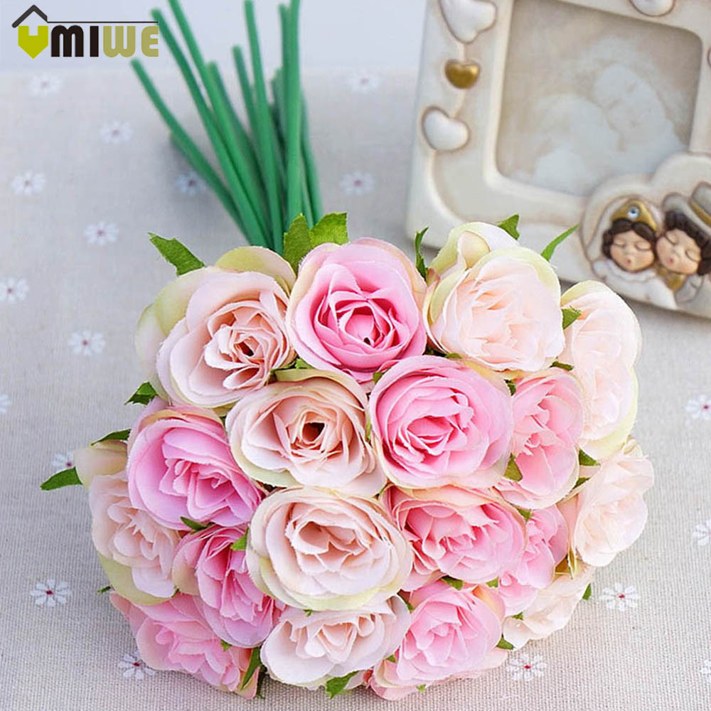 Home Wedding Decoration Pink Bouquet Hand Holding DIY Wedding Artificial Flowers Rose Bud Heads Fake Simulation Flower Bouquet