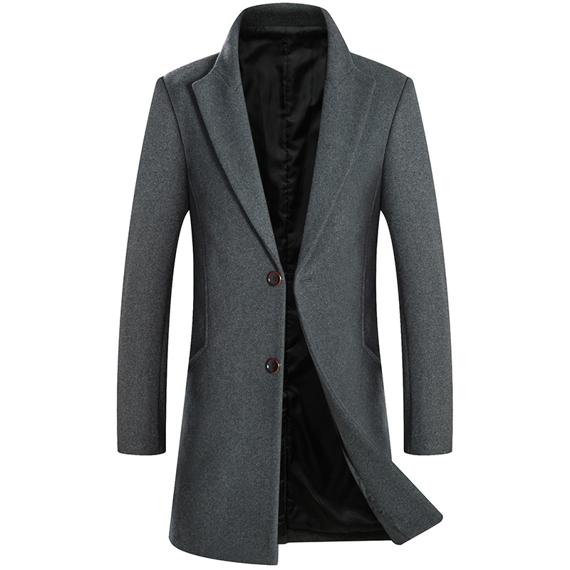 2019 New   Trench   Coat Men Long Thicken Black Slim fit   Trench   Jacket Wool Windbreaker Mens Winter Outwear Overcoat R1638