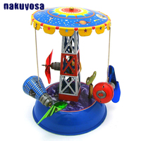 Antique Reminiscence Metal Rotary Sealed Cabin Tin Toy Childhood Memories Giddy go round Clockwork Toys For Adults Collection