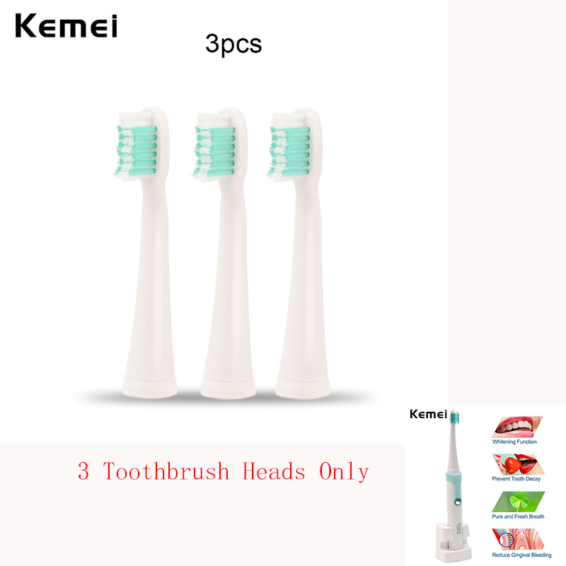 Top Quality 3 Pcs KM-907 Toothbrush Replacement Heads for Clean Teeth Oral Hygiene Dental Care for Kemei Electric Toothbrush