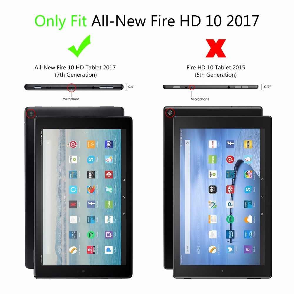 Capa Fundas dla Amazon kindle fire HD 10 2017 pokrowiec na tableta dla Amazon HD 10 2017 Smart Print Flip skórzane etui + rysik