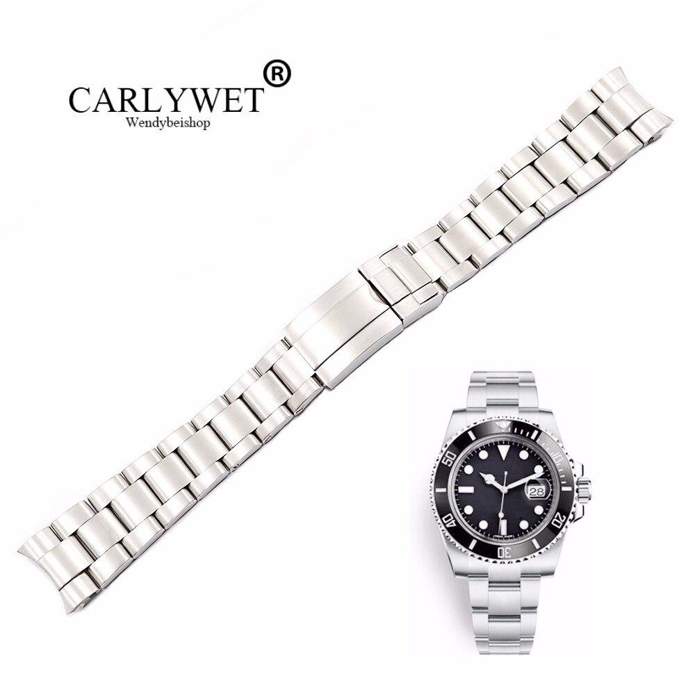 CARLYWET 20 21mm Argent Brossé 316L Solide Montre En Acier Inoxydable Bande Ceinture Bracelet Bracelets Pour GMT Sous-Marinier