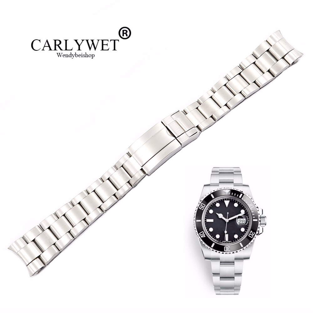 CARLYWET 20 21mm plata cepillado 316L sólido de acero inoxidable banda de reloj de correa pulseras para GMT Submariner