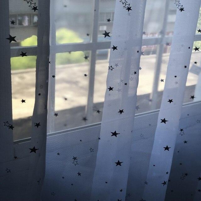 Bianco Star Tulle Tenda Della Porta Finestra Tende Drape Pannello Sheer Tulle Per Complementi Arredo Casa Soggiorno Cucina Camera Da Letto Camera 234 & 30