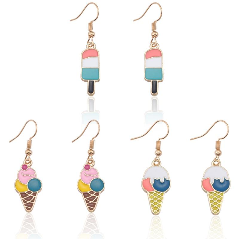 Cute DIY Ice Cream Earrings For Women Kawaill Colorful Earring For Girls Jewelry Metal Earing Jewellry Christmas Xmas Gifts