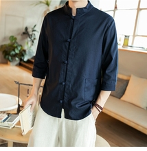 2019 autumn and winter new mens Chinese style linen button buckle casual shirt retro stand collar large size men