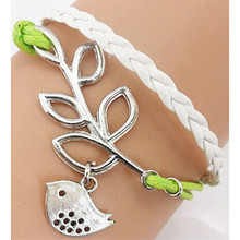 HOT Brand Handmade Adjustable Leaf Bird Multilayer Leather Bracelet Wristband