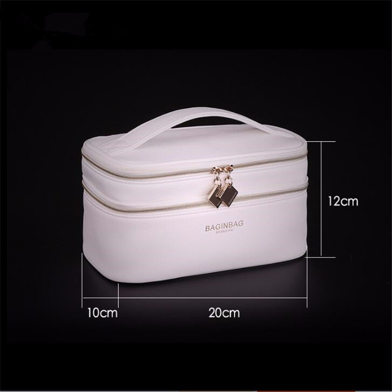 Baginbag Double Layer Cosmetic Bag Cross PU Cosmetics Multifunctional Make Up Makeup Bag Toiletry Bag trousse maquillage femme 1